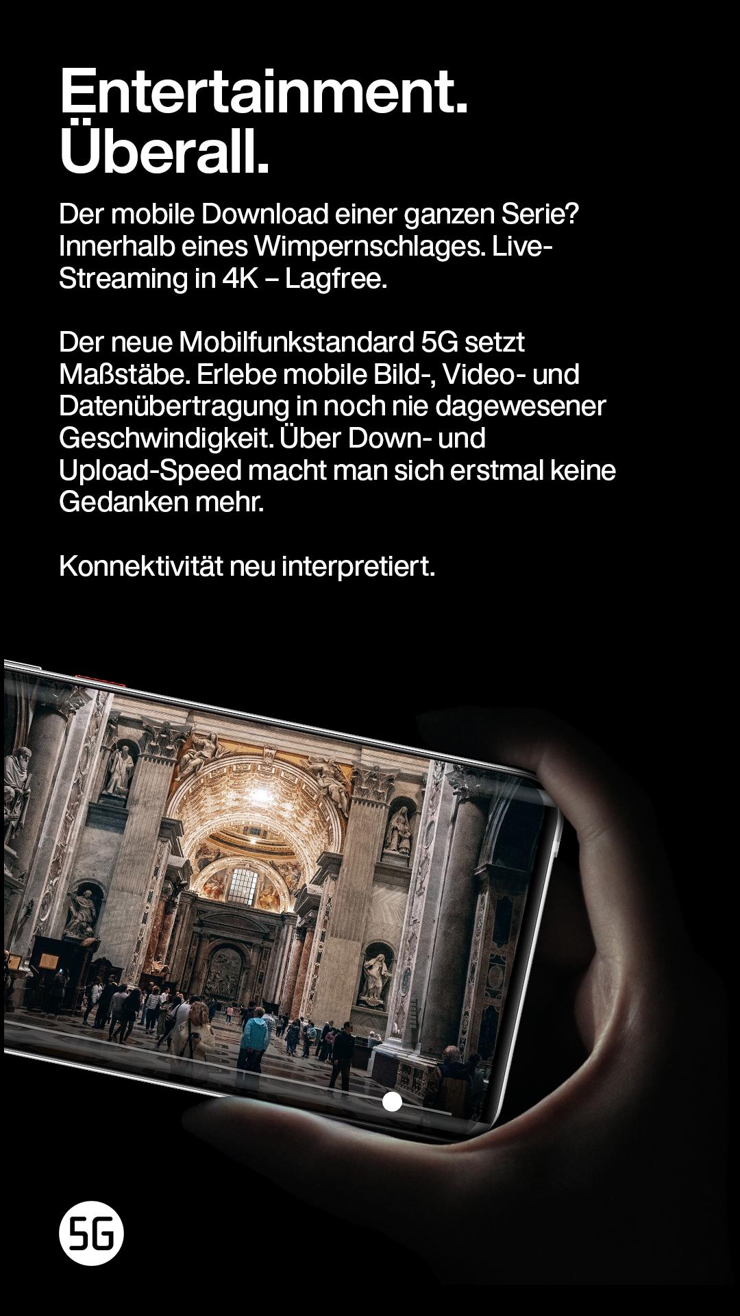 Hand hält Smartphone mit Video einer Kathedrale responsiv