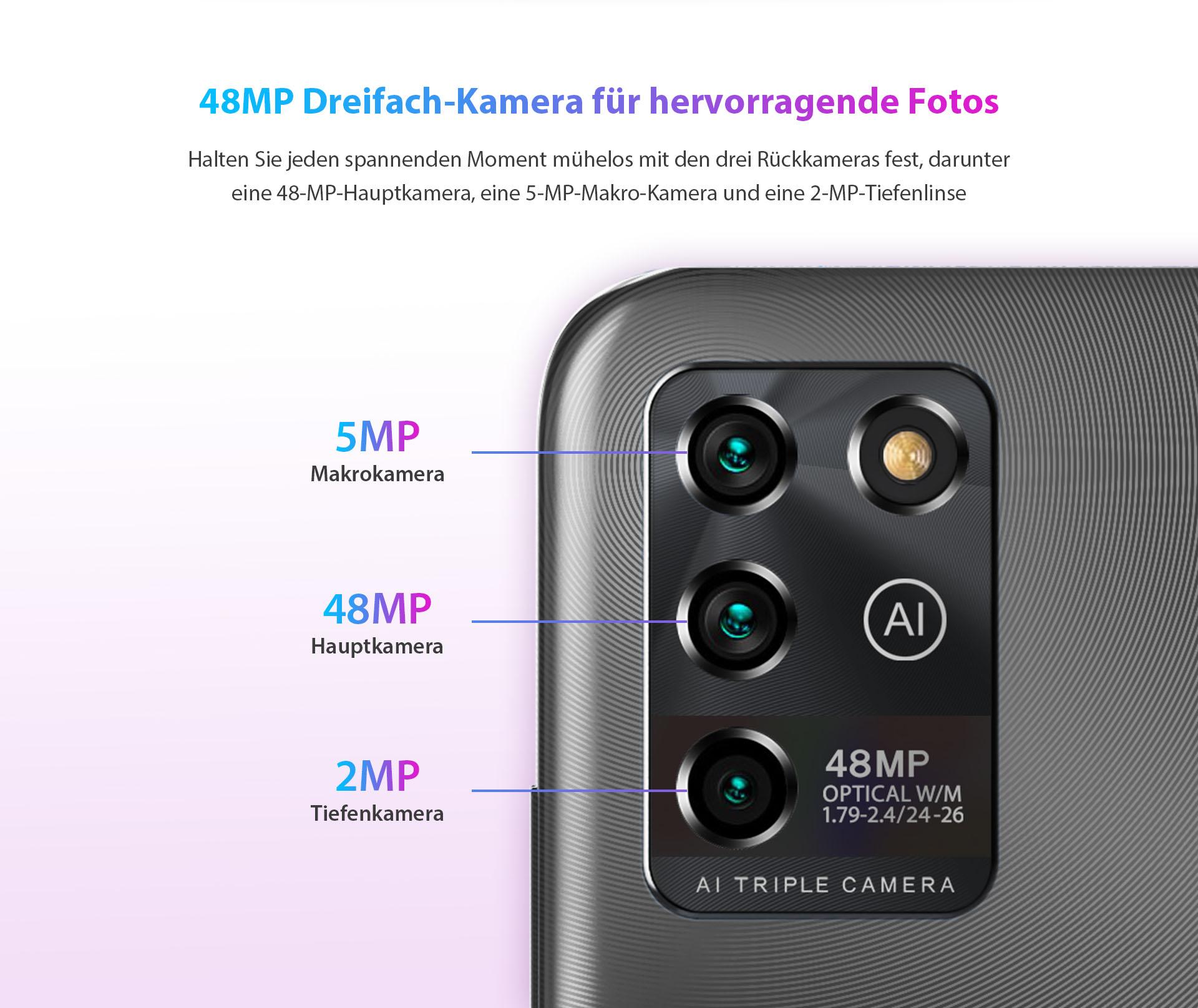 ZTE V30 Vita mit 48 MP Triple-Kamera für hervorrangede Fotos - Halten Sie jeden spannenden Moment mühelos mit den drei Rückkameras fest, darunter eine 48-MP-Hauptkamera, eine 5-MP-Makro-Kamera und eine 2-MP-Tiefenlinse.