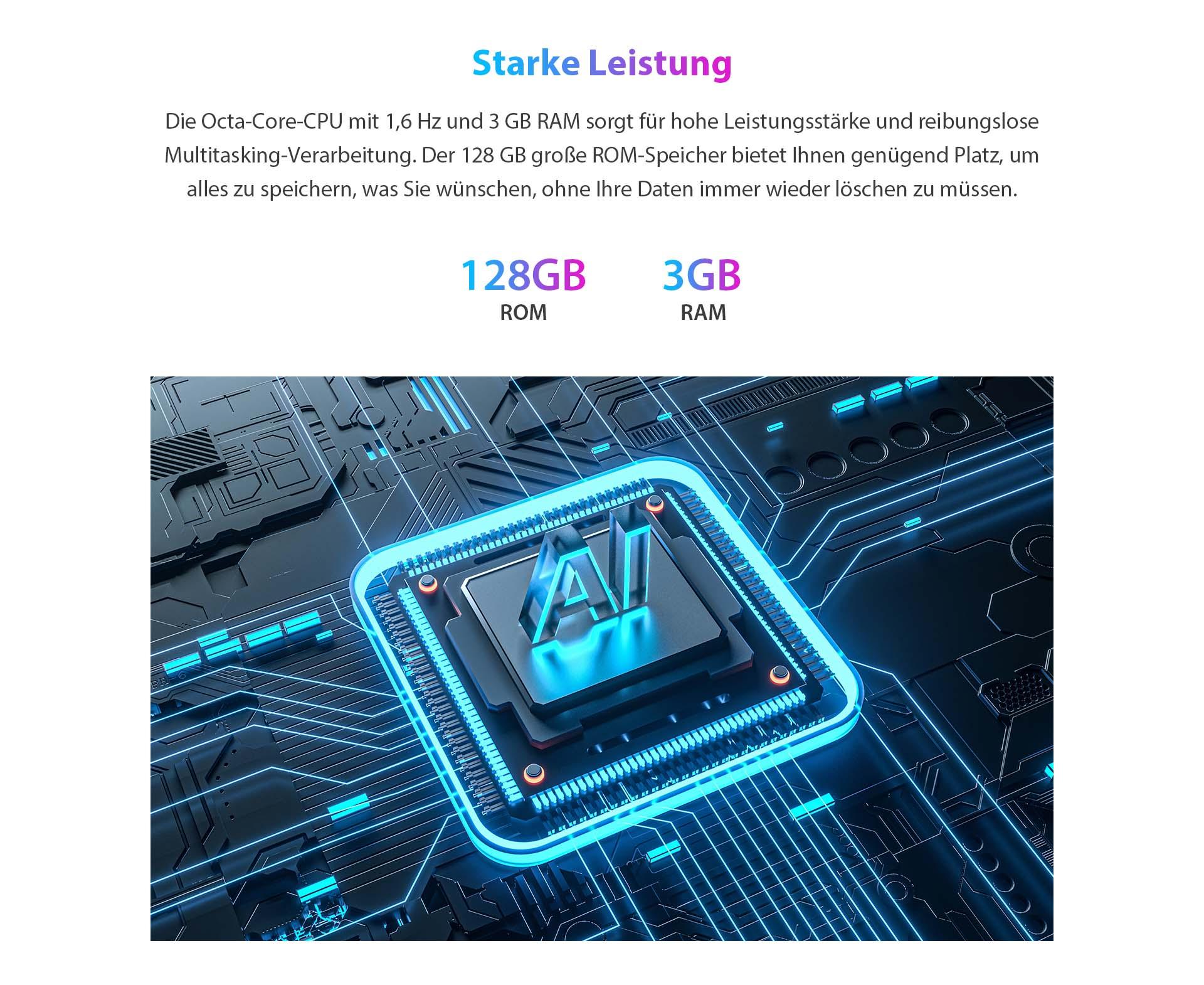 ZTE V30 Vita mit starker Leistung - Die Octa-Core-CPU mit 1,6 GHz und 3GB RAM sorgt für hohe Leistungsstärke und reibungslose Multitasking-Verarbeitung. Der 128 GB große ROM-Speicher bietet Ihnen genügend Platz, um alles zu speichern, was Sie wünschen, ohne Ihre Daten immer wieder löschen zu müssen.