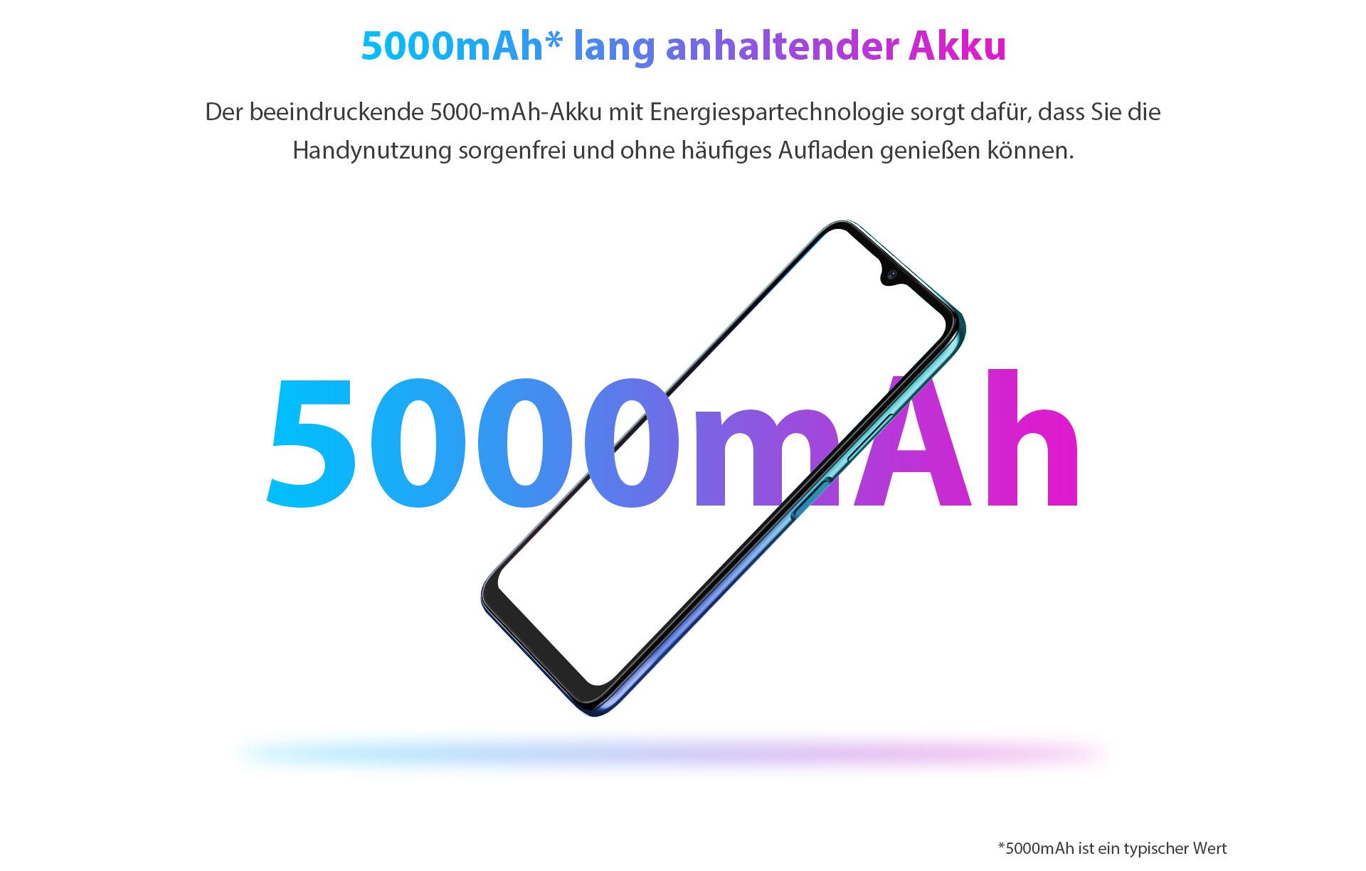 ZTE V30 Vita's 5000 mAh lang anhaltender Akku - der beeindruckende 5000 mAh-Akku mit Energiespartechnologie sorgt dafür, dass Sie die Handynutzung sorgenfrei und ohne häufiges Aufladen genießen können.
