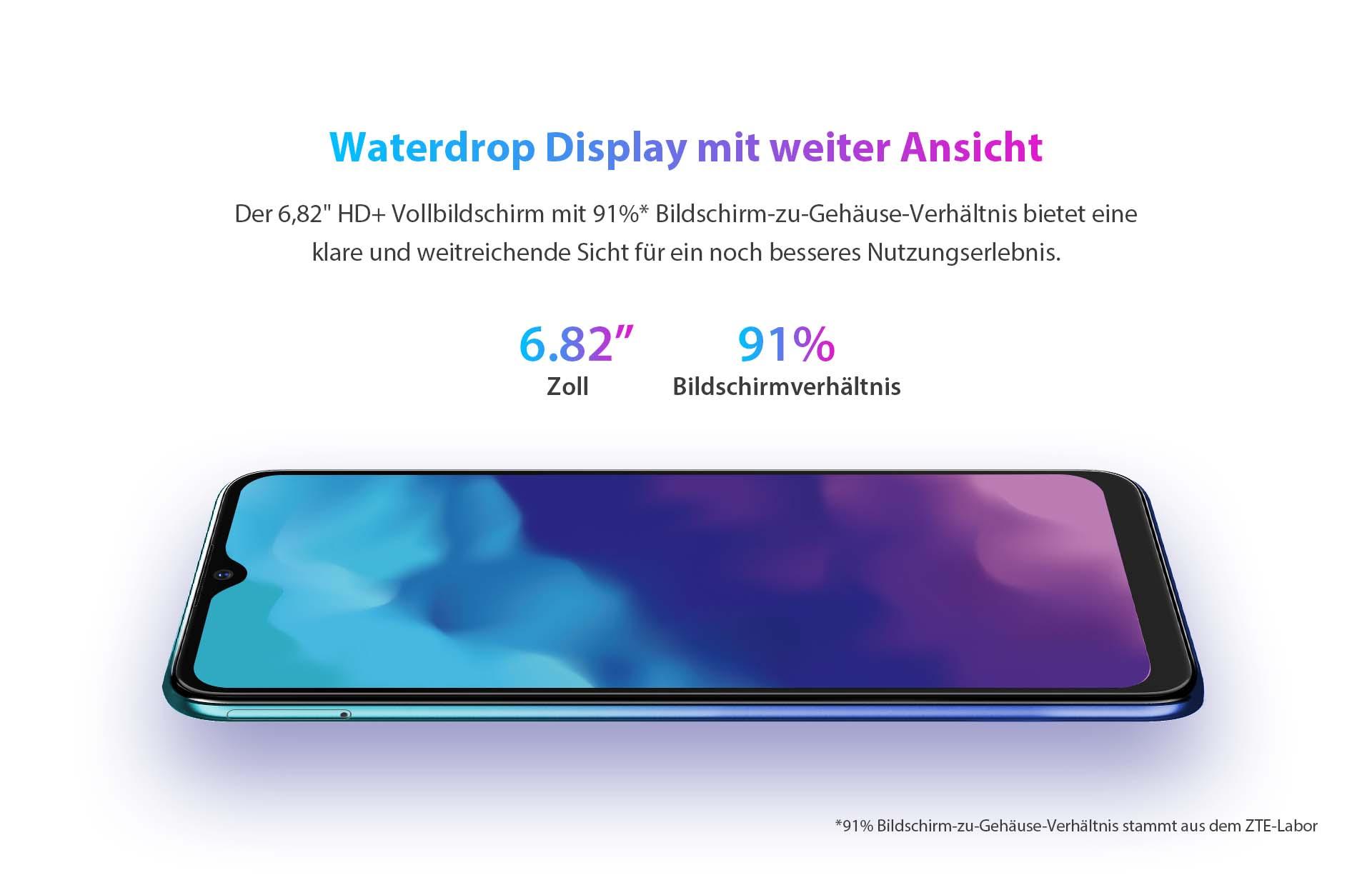 """ZTE V30 Vita mit Waterdrop Display mit weiter Ansicht - der 6,82"""" HD+ Vollbildschirm mit 91% Bildschirm-zu-Gehäuse-Verhältnis bietet eine klare und weitreichende Sicht für ein noch besseres Nutzungserlebnis."""