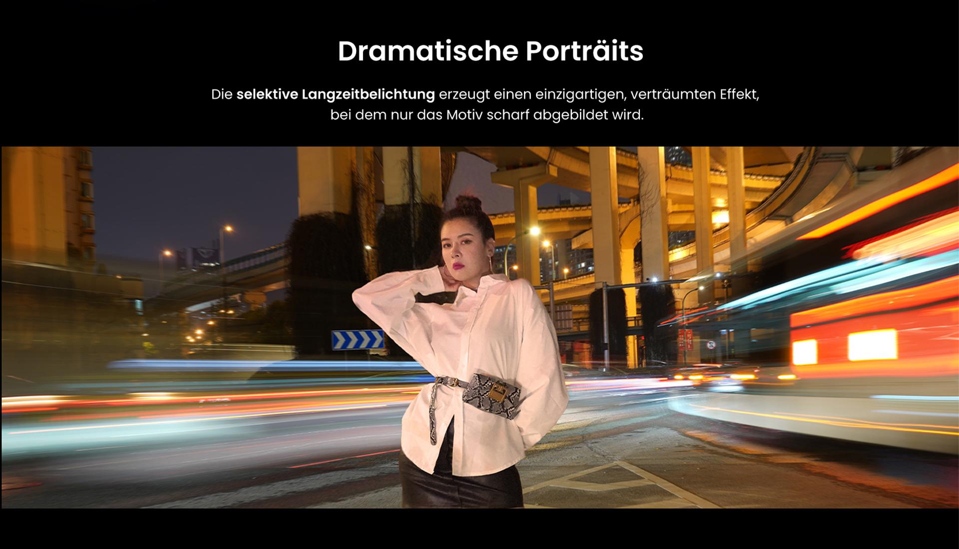 Dramatische Porträts mit dem Axon 30 Ultra - Die selektive Langzeitbelichtung erzeugt einen einzigariten, verträumten Effekt, bei dem nur das Motiv scharf abgebildet wird