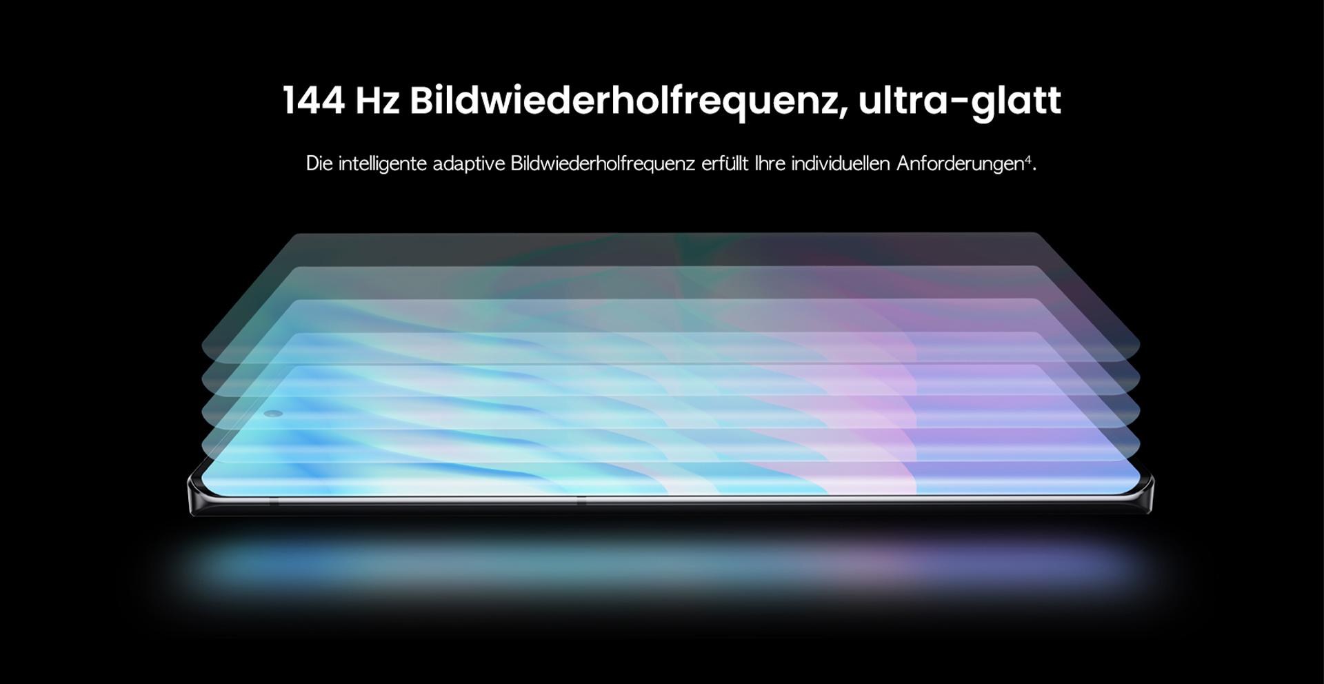 ZTE Axon 30 Ultra mit 144 Hz Bildwiederholfrequenz, ultra-glatt - Die intelligente adaptive Bildwiederholfrequenz erfüllt Ihre individuellen Anforderungen.