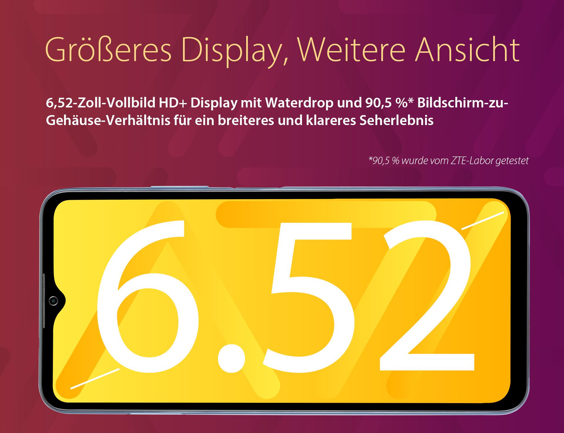 Das ZTE Blade A71 hat ein größeres Display, weitere Ansicht - 6,52-Zoll-Vollbild HD+ Display mit Waterdrop Notch und 90,5% Bildschirm-zu-Gehäuse-Verhältnis für ein breiteres und klareres Seherlebnis