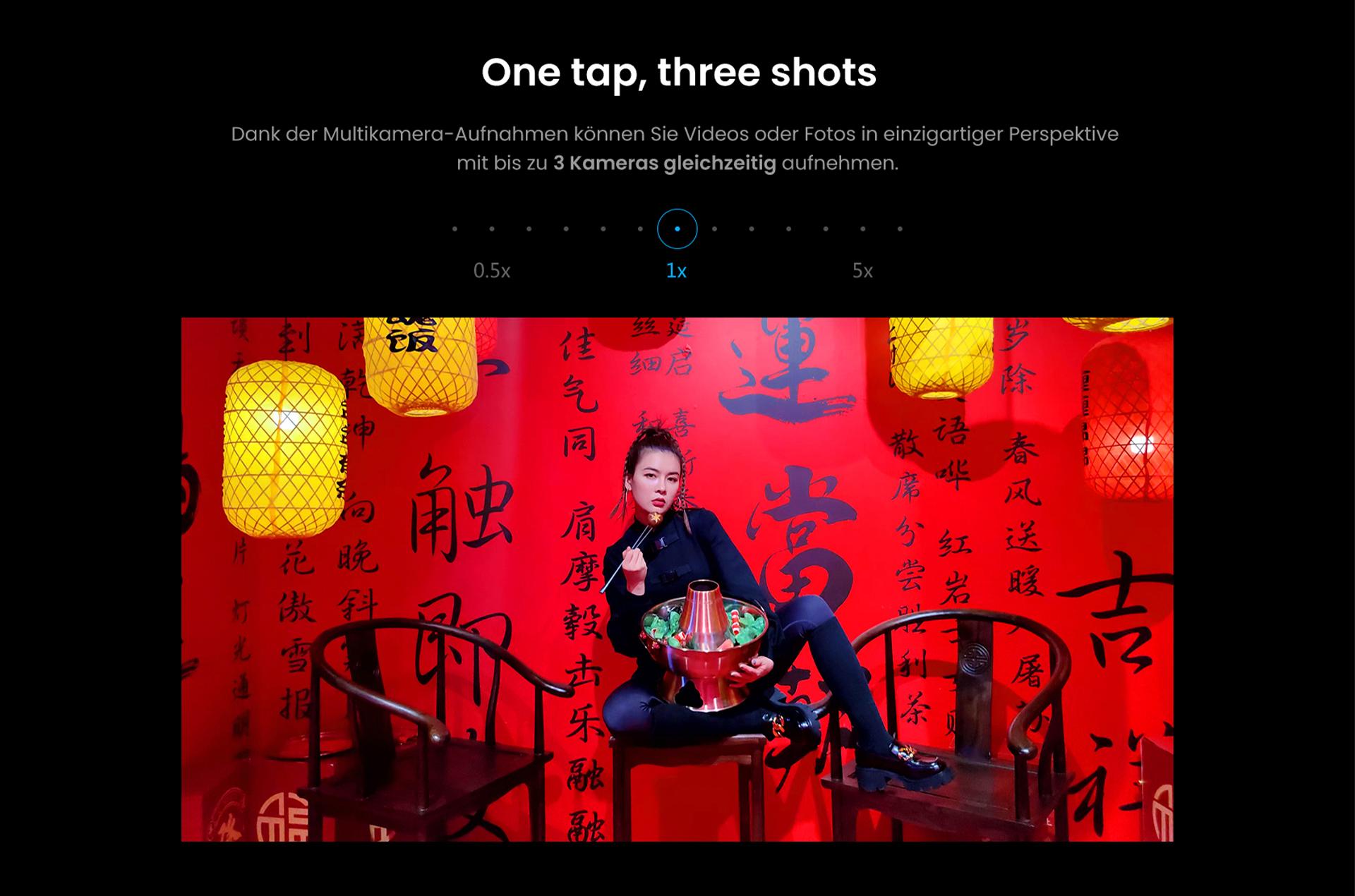 One Tap, Three Shots mit dem ZTE Axon 30 Ultra - Dank der Multikamera-Aufnahmen können Sie Videos oder Fotos in einzigartiger Perspektive mit bis zu 3 Kameras gleichzeitig aufnehmen