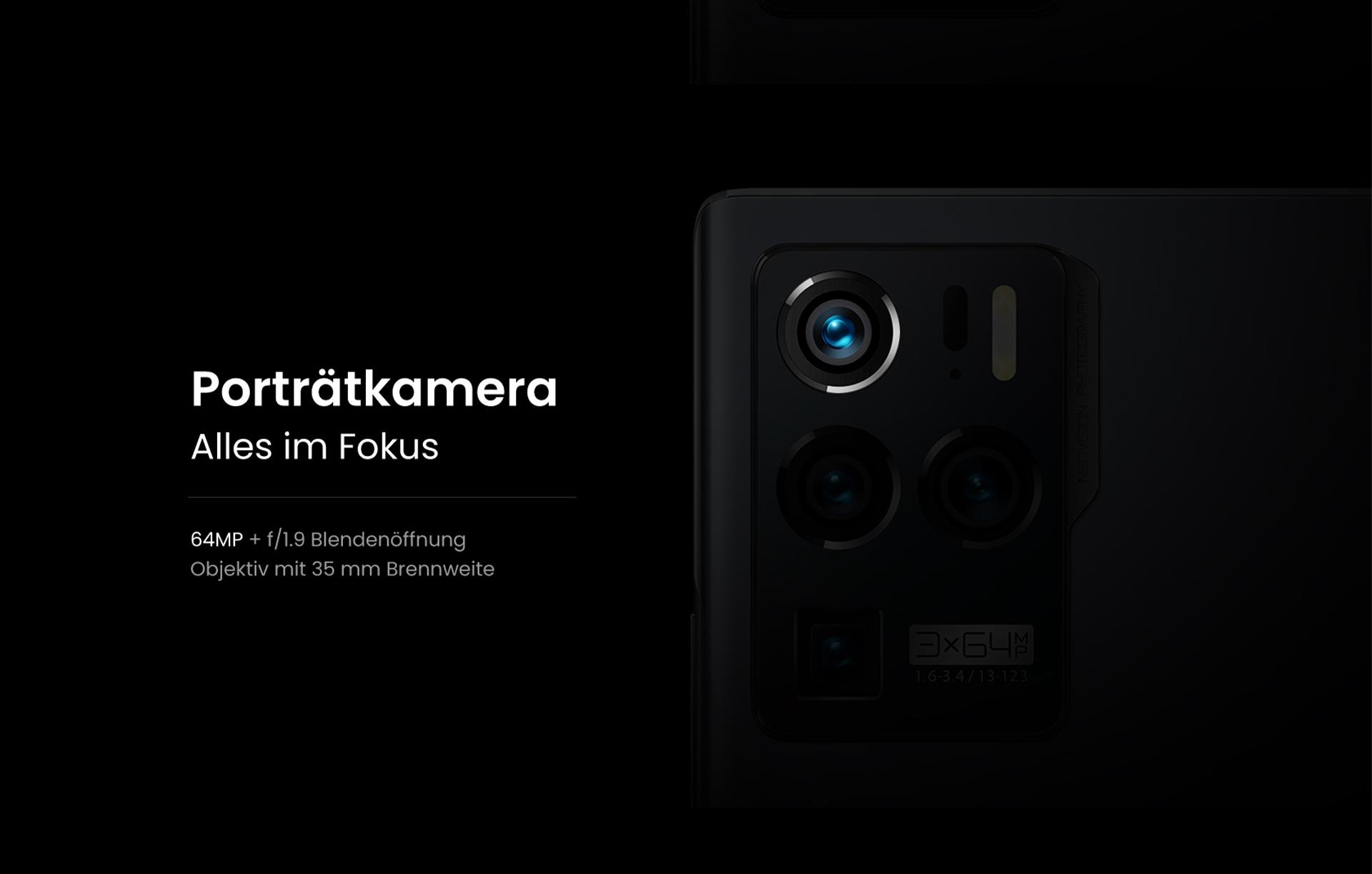 Mit der Proträtkamera des ZTE Axon 30 Ultra Alles im Fokus - 64MP + f/1.9 Blendenöffnung, Objektiv mit 35mm Brennweite