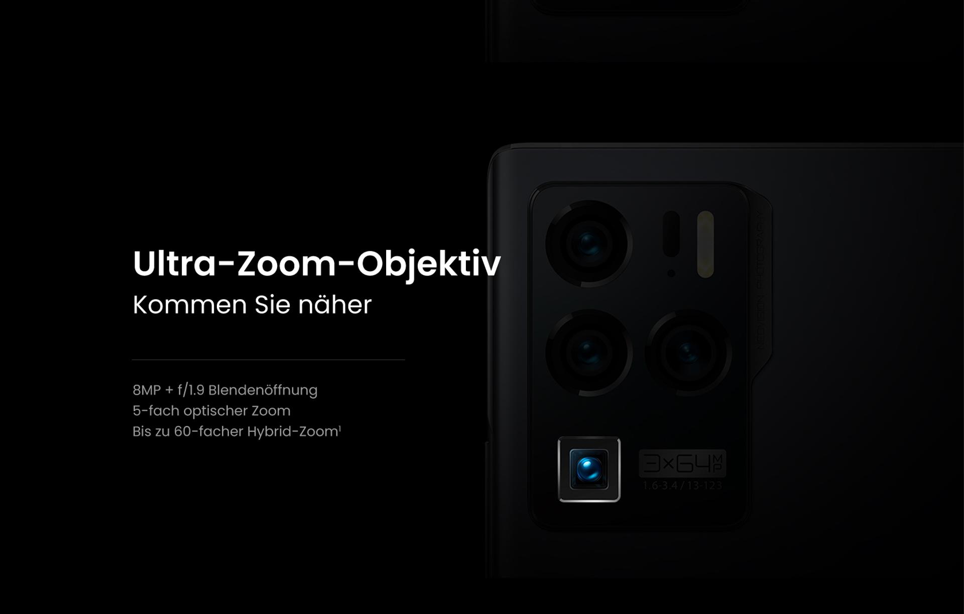 Das Ultra-Zoom-Objektiv des ZTE Axon 30 Ultra, Kommen Sie näher - mit 8MP + f/1.9 Blendenöffnung, 5-facher optischer Zoom und bis zu 60-fachem Hybrid-Zoom