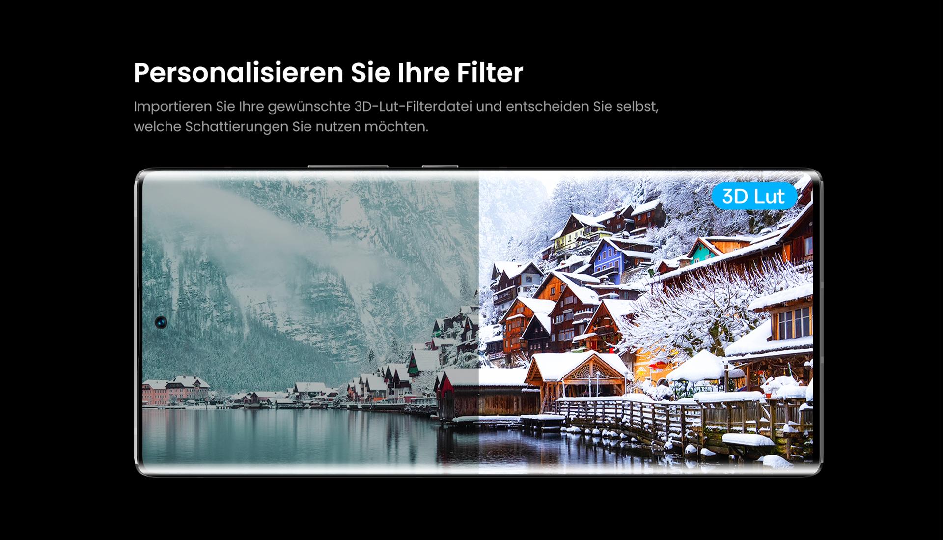 Personalisieren Sie Ihre Filter mit dem ZTE Axon 30 Ultra - Importieren Sie Ihre gewünschte 3D-Lut-Filterdatei und entscheiden Sie selbst, welche Schattierungen Sie nutzen möchten