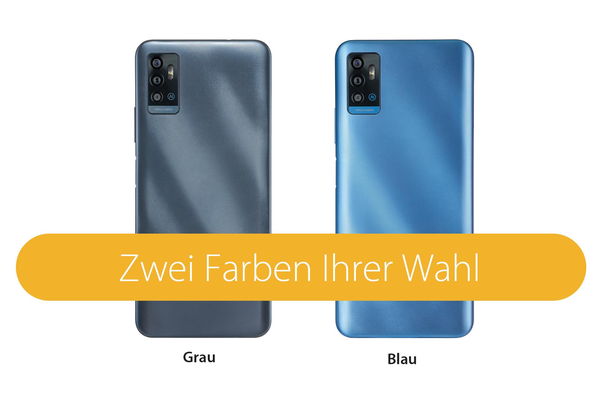 Das ZTE Blade A71 in zwei Farben Ihrer Wahl in blau und grau