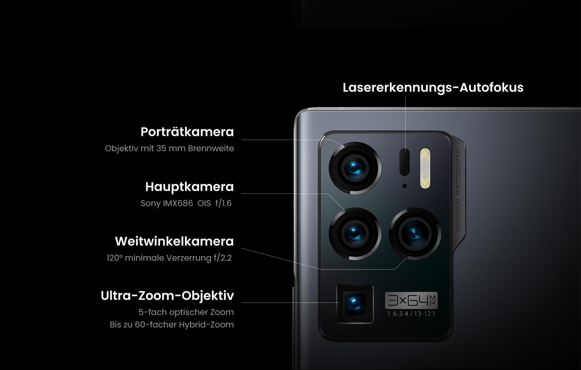 ZTE Axon 30 Ultra mit Quadkamera: Hauptkamera (Sony IMX686 OIS f/1.6), Porträtkamera (Objektiv mit 35mm Brennweite), Weitwinkelkamera (120° minimale Verzerrung f/2.2), Ultra-Zoom-Objektiv (5-facher optischer Zoom, bis zu 60-facher Hybrid-Zoom) und Laserkennungs-Autofokus