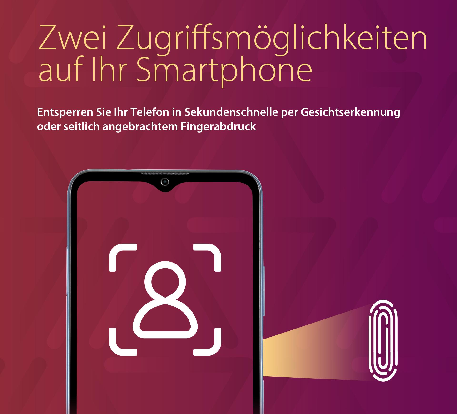 ZTE Blade A71 mit zwei Zugriffsmöglichkeiten auf Ihr Smartphone - Entsperren Sie Ihr Telefon in Sekundenschnelle per Gesichtserkennung oder seitlich angebrachten Fingerabdruck